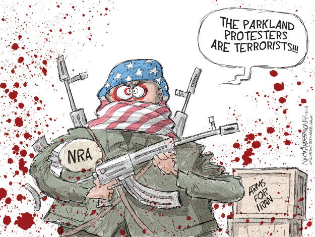 The Parkland protesters are terrorists!!! NRA. Arms for Iran.