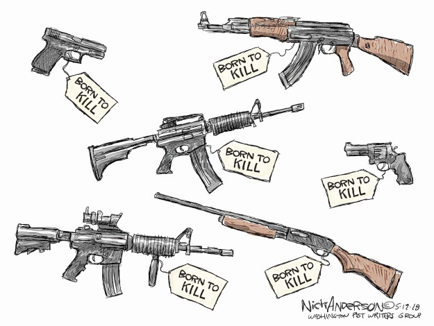 Cartoonist Nick Anderson  Nick Anderson's Editorial Cartoons 2018-05-19 gun violence