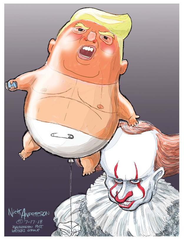 No caption {Russian President Vladimir Putin is dressed as Pennywise the Clown. The balloon he holds is in the form of President Donald Trump as a baby}
