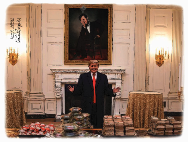 No caption (President Donald Trump proudly gestures toward a dining table filled with fast food. A portrait of President Abraham Lincoln gesturing a face palm hangs over the mantle).