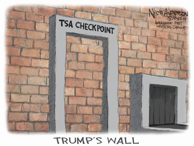 TSA Checkpoint. Trumps Wall.