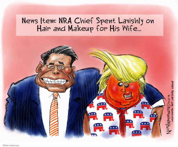 News Item: NRA chief spent lavishly on hair and makeup for his wife …