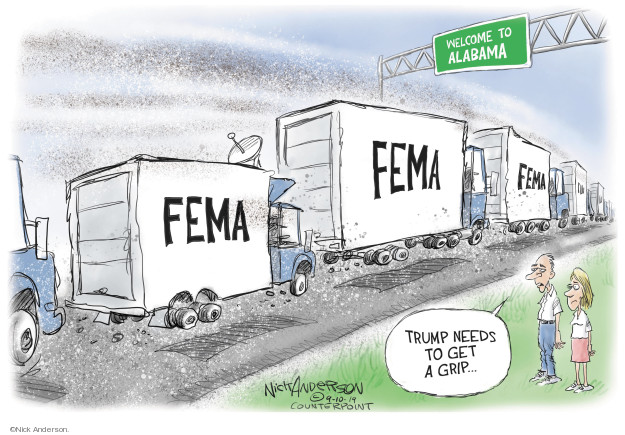 Cartoonist Nick Anderson  Nick Anderson's Editorial Cartoons 2019-09-12 hurricane