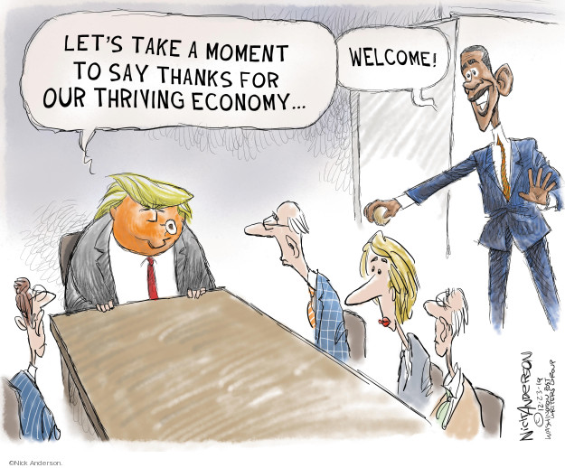 Cartoonist Nick Anderson  Nick Anderson's Editorial Cartoons 2019-12-23 Obamacare jobs
