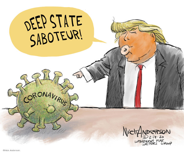 Cartoonist Nick Anderson  Nick Anderson's Editorial Cartoons 2020-02-29 disease