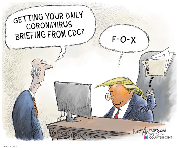 Cartoonist Nick Anderson  Nick Anderson's Editorial Cartoons 2020-03-13 disease