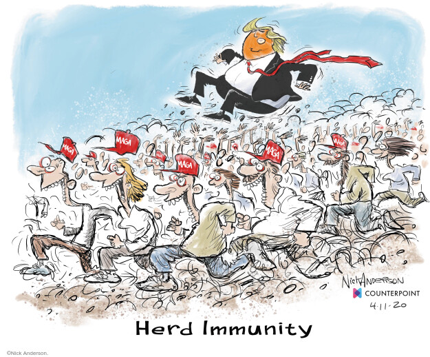 Cartoonist Nick Anderson  Nick Anderson's Editorial Cartoons 2020-04-11 immunity