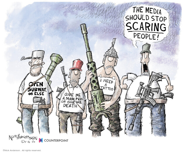 Cartoonist Nick Anderson  Nick Anderson's Editorial Cartoons 2020-05-16 social distancing