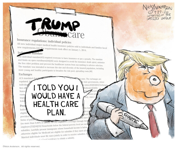 Nick Anderson  Nick Anderson's Editorial Cartoons 2020-09-28 health care plan