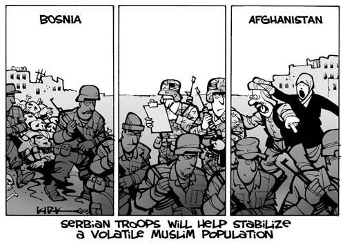 Bosnia.  Afghanistan.  Serbian Troops Will Help Stabilize a Volatile Muslim Population.