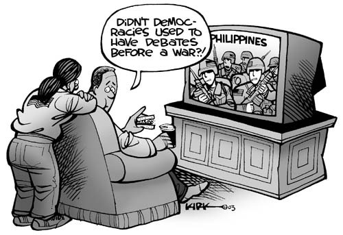 Didnt democracies used to have debates before a war?!  Philippines.