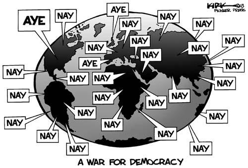 A War for Democracy.  Nay.  Nay.  Nay.  Nay.  Nay.  Nay.  Nay.  Nay.  Aye.  Nay.  Nay.  Nay.  Nay.  Nay.  Aye.  Nay.  Nay.  Nay.  Nay.   Nay.  Nay.  Nay.  Nay.  Nay.  Nay.  Aye.