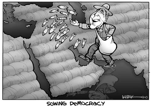 Sowing Democracy.  (President George W. Bush distributes throughout the Middle East.)