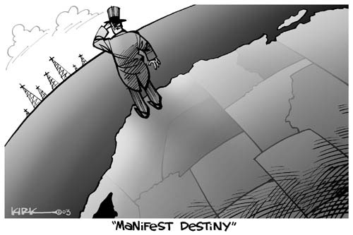 Manifest Destiny. (Uncle Sam looks off the coast of California where there are oil wells.)