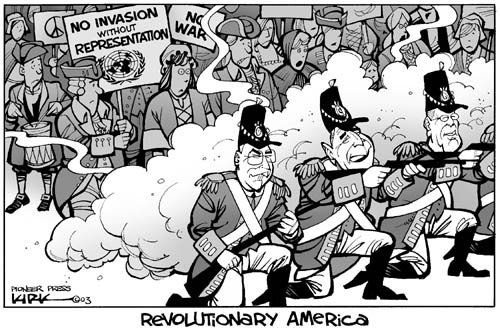Revolutionary America.  No invasion without representation.  No war.