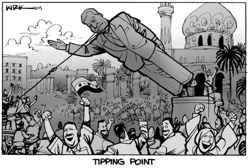 Tipping point.  (Statue of Saddam Hussein is toppled amidst crowd of cheering Iraqis.)