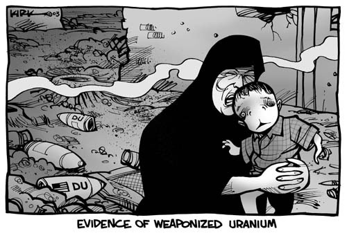 Evidence of Weaponized Uranium.  (Iraqi mother carries child through an area that is littered with American depleted uranium bombs.)