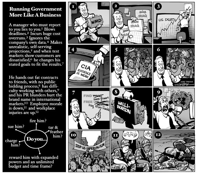 Running Government More Like a Business.  A manager who mush report to you lies to you.  (WMD.)  Blows deadlines.  (Iraq Calendar.)  Incurs huge cost overruns.  (U.S. Debt.)  Ignores the companys own data.  (CIA Evidence is Weak.)  Makes unrealistic, self-serving projections  (predictions about welcome by Iraqis), and when test markets show customers are dissatisfied (truth about welcome by Iraqis). he changes his stated goals to fit the results.  (Find wmd - mass graves.  Free US from terror - Iraq from Saddam.)  He hands our fat contracts to friends, with no public bidding process (Halliburton), has difficulty working with others (United Nations), and his PR blunders hurt the brand name in international markets (Stop U.S. Imperialism).  Employee morale is down (*#&!+) and workplace injuries are up (military casualties).  Do you .... Charge him?  Sue him?  Fire him?  Tar and feather him?  Reward him with expanded powers and an unlimited budget and time frame?
