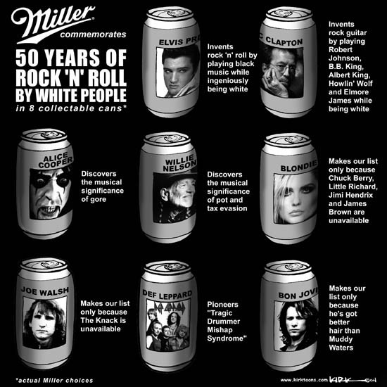 "Miller commemorates 50 years of RockN Roll by White People in 8 collectable cans.*  Elvis Presley.  Invents rock n roll by playing black music while ingeniously being white.  Eric Clapton.  Invents rock guitar by playing Robert Johnson, B.B. King, Albert King, Howlin Wolf and Elmore James while being white.  Alice Cooper.  Discovers the musical significance of gore.  Willie Nelson.  Discovers the musical significance of pot and tax evasion.  Blondie.  Makes our list because Chuck Berry, Little Richard, Jimi Hendrix and James Brown are unavailable.  Joe Walsh.  Makes our list only because The Knack is unavailable.  Def Leppard.  Pioneers ""Tragic Drummer Mishap Syndrome.""  Bon Jovi.  Makes our list only because hes hot better hair than Muddy Waters. * Actual Miller choices."