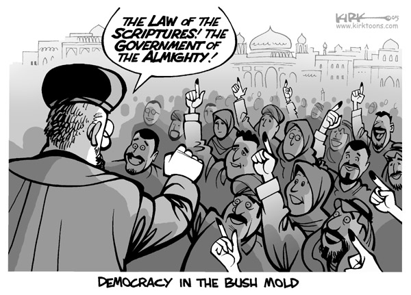 The law of the scriptures!  The government of the almighty!  Democracy in the Bush mold.