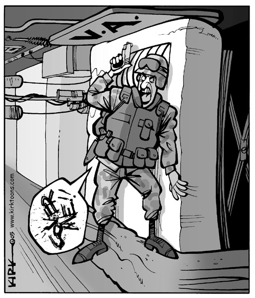 V.A.  Cover me!  (Soldier calls for assistance.  This cartoon may be turned to a horizontal orientation to show the soldier on a VA hospital bed.)