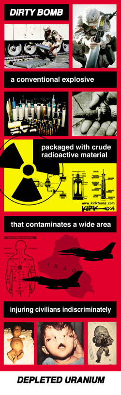 Dirty Bomb.  A conventional explosive packaged with crude radioactive material that contaminates a wide area injuring civilians indiscriminately.  Depleted Uranium.