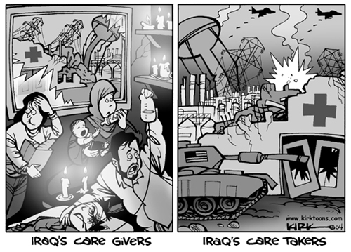 Iraq Care Givers.  (Mothers, aid workers and doctors.)  Iraq Care Takers.  (American military attacking civilian targets.)