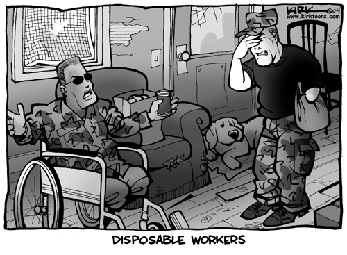 Disposable Workers.  (Soldiers who are amputees live in rundown housing.)
