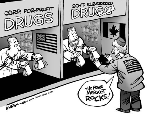 Corp. For-Profit Drugs.  (American Flag).  Govt. Subsidized Drugs Cheap.  (Canadian Flag).  The free market rocks!