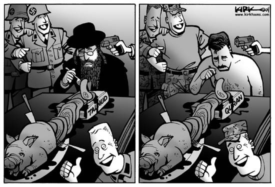 No caption.  (Two framed cartoon.  First frame shows Nazis torturing a Jew.  The second frame shows Americans torturing an Iraqi.)