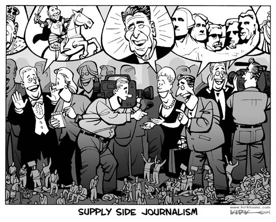 Supply Side Journalism.  (Journalists interview affluent sources about President Ronald Reagan.  They offer enthusiastic praise while protesters and casualties of Reagans policies are on the ground, out of sight of the journalists.)