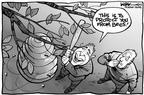 Cartoonist Kirk Anderson  Kirk Anderson's Editorial Cartoons 2003-03-18 baseball hit