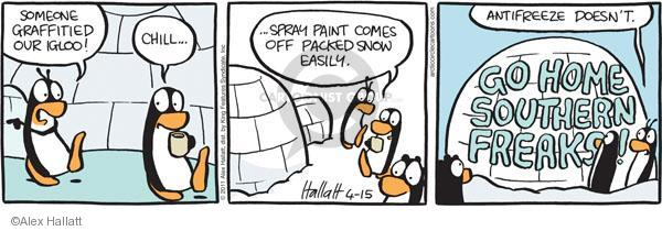 Someone graffitied our igloo! Chill � Spray paint comes off packed snow easily. Antifreeze doesnt. Go home southern freaks!