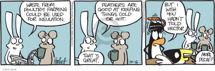 Waste from poultry farming could be used for insulation. Feathers are good at keeping things cold or hot. Thats great. But I wish you hadnt told Hector. More decaf?