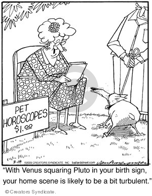 """Pet horoscopes. $1.00. """"With venus squaring pluto in your birth sign, your home scene is likely to be turbulent."""""""
