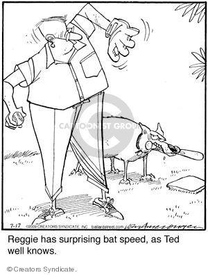 Reggie has surprising bat speed, as Ted well knows.