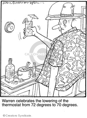 Warren celebrates the lowering of the thermostat from 72 degrees to 70 degrees.