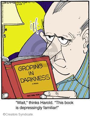 """Groping in Darkness. """"Wait,"""" thinks Harold. """"This book is depressingly familiar!"""""""