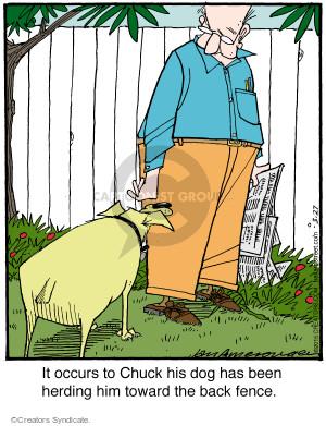 Cartoonist Jerry Van Amerongen  Ballard Street 2015-03-27 dog fence