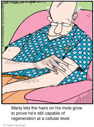 Marty lets the hairs on his mole grow to prove hes still capable of regeneration at a cellular level.