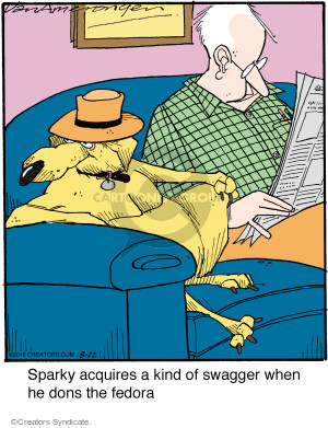 Sparky acquires a kind of swagger when he dons the fedora.