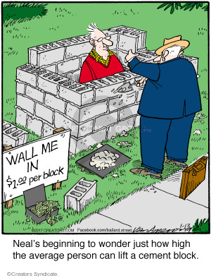 Wall me in. $1.00 per block. Neals beginning to wonder just how high the average person can lift a cement block.