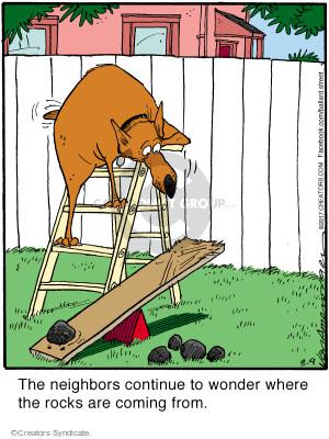 Cartoonist Jerry Van Amerongen  Ballard Street 2017-03-09 dog fence