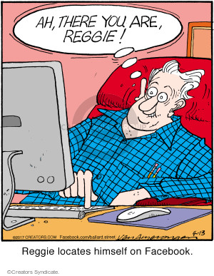 Ah, there you are, Reggie! Reggie locates himself on Facebook.