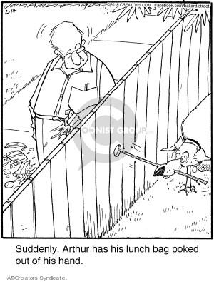 Cartoonist Jerry Van Amerongen  Ballard Street 2018-02-14 dog fence