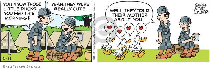 You know those little ducks you fed this morning? Yeah, they were really cute. Well, they told their mother about you.