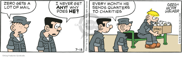 Zero gets a lot of mail. I never get any! Why does he? Every month he sends quarters to charities.