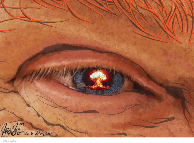 No caption (A nuclear bomb mushroom cloud is shown reflected in Donald Trumps eye).