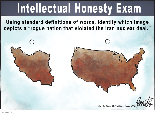 Intellectual Honesty Exam. Using standard definitions of words, identify which image depicts a rogue nation that violated the Iran nuclear deal.
