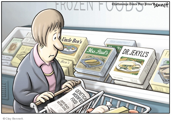 Frozen foods. TV Dinner. Uncle Bens. Mrs. Pauls. Dr Jekylls. Genetically modified food. Crops reach record level.